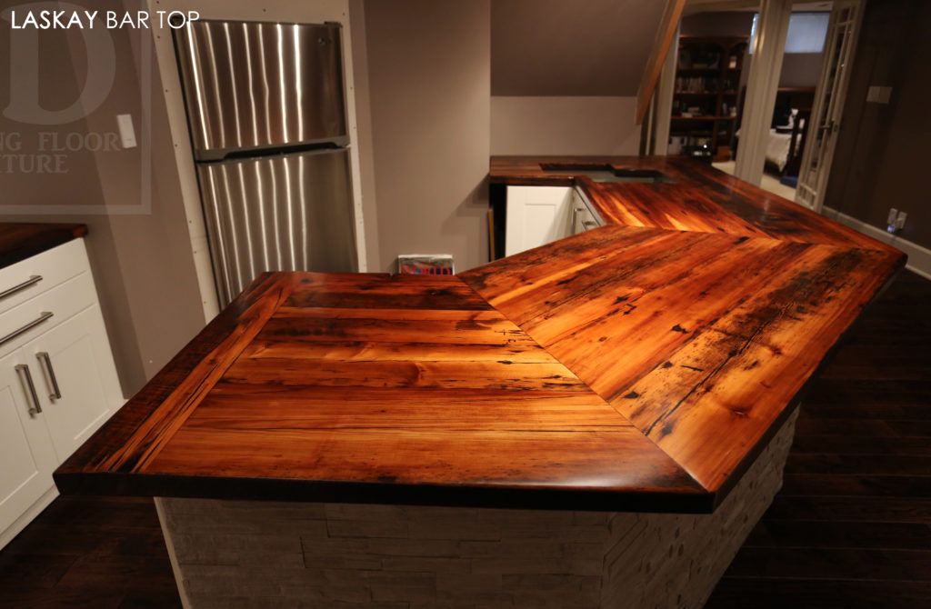 Angled Reclaimed Wood Bar Top | Blog