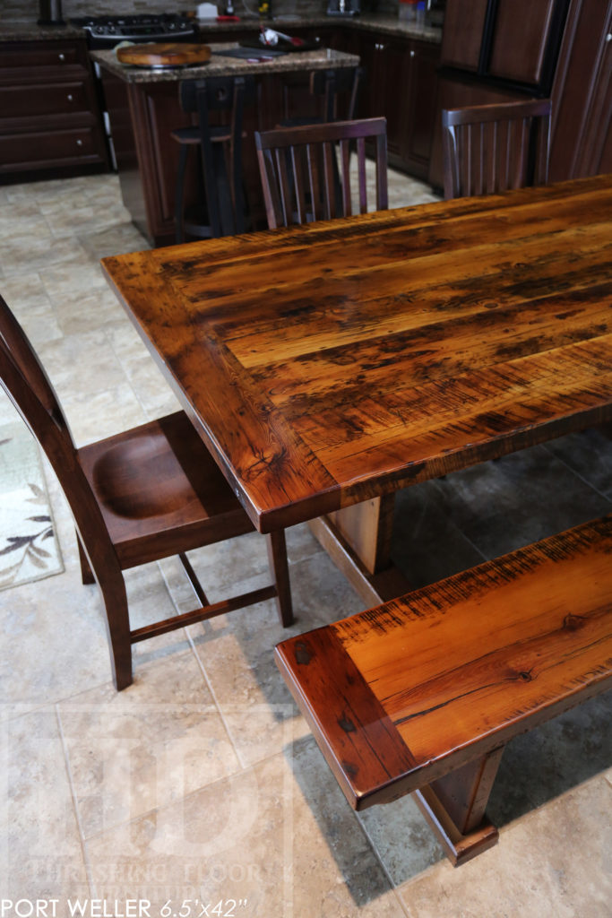 Niagara on the Lake, reclaimed wood table, epoxy, HD Threshing, wormy maple chairs, rustic table, reclaimed wood bench, lazy susan, Gerald Reinink