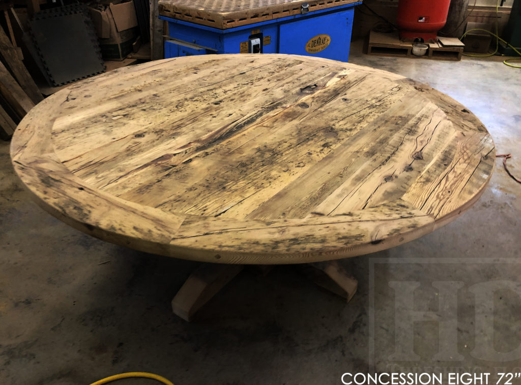round table, puslinch, ontario, hd threshing, rustic table, farmhouse table, distressed wood table, cottage table, epoxy, hd threshing, solid wood table, custom round table, recycled wood table, round