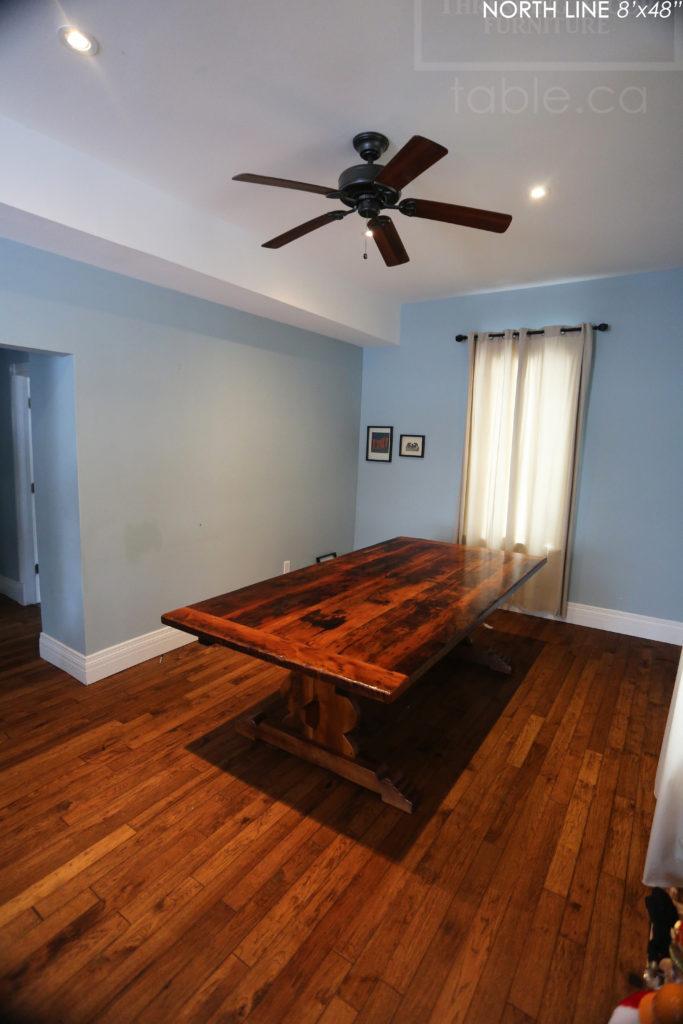 reclaimed wood table, coldwater, ontario, epoxy, rustic table, farmhouse, solid wood table, trestle, hemlock, barnwood, hd threshing, custom table, gerald reinink