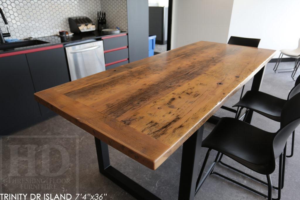 reclaimed wood table mississauga, ontario, barnwood table, farmhouse table, metal base reclaimed wood table, hd threshing, industrial table, epoxy, grey, gray, heavy duty, distressed, rustic, hd threshing, gerald reinink