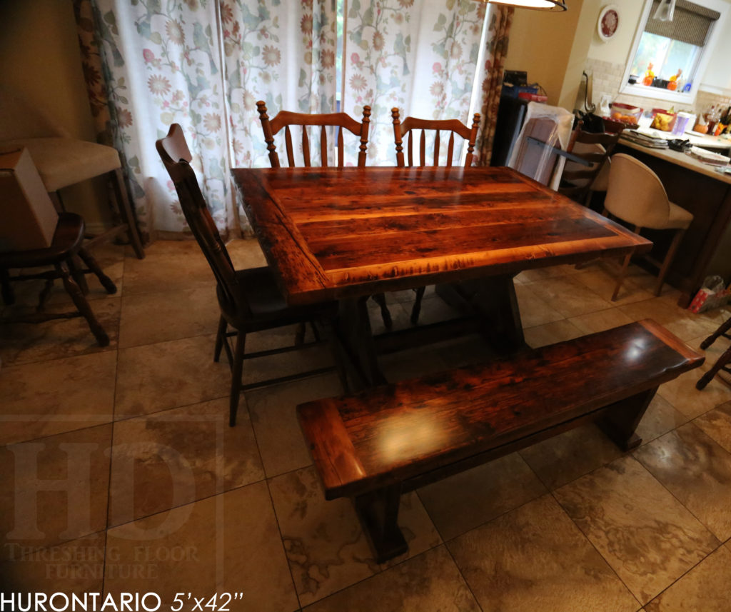 reclaimed wood tables ontario, sawbuck, hd threshing, epoxy, rustic, farmhouse, custom, gerald reinink