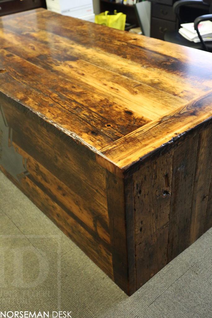 reclaimed wood desk, custom desk, etobicoke, ontario, barnwood desk, Ontario, unique desks ontario, hd threshing, gerald reinink, office furniture ontario