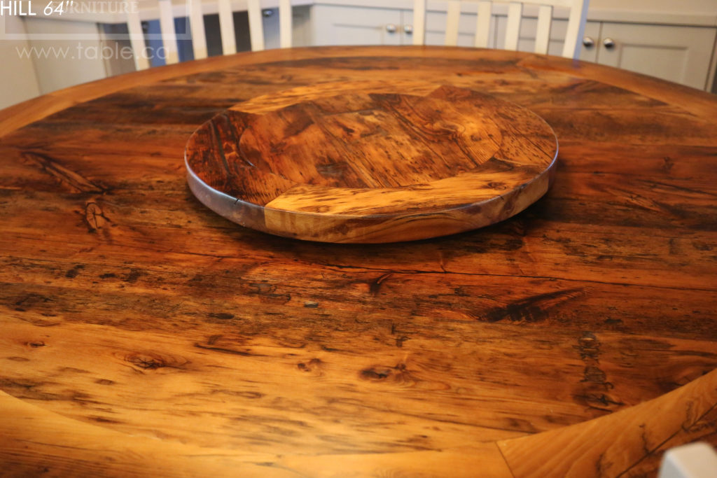 reclaimed wood round table, brantford, ontario, reclaimed wood furniture, lazy susan, barnwood, farmhouse, cottage, solid wood, rustic style, epoxy, custom, hd threshing, hd threshing floor furniture, distressed wood,
