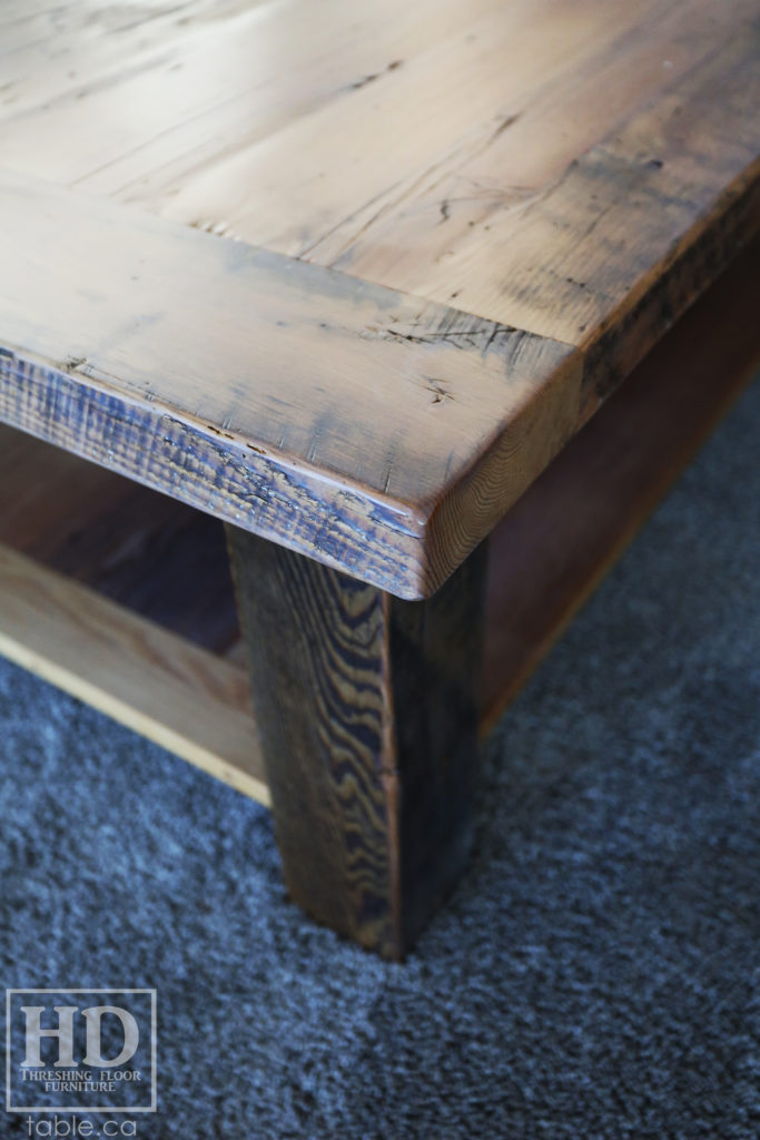 Greytone Treatment Coffee Table made from Reclaimed Wood by HD Threshing Floor Furniture / www.table.ca