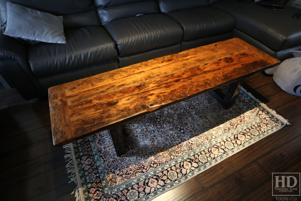 Metal Base Coffee Table made from Ontario Barnwood by HD Threshing Floor Furniture / www.table.ca