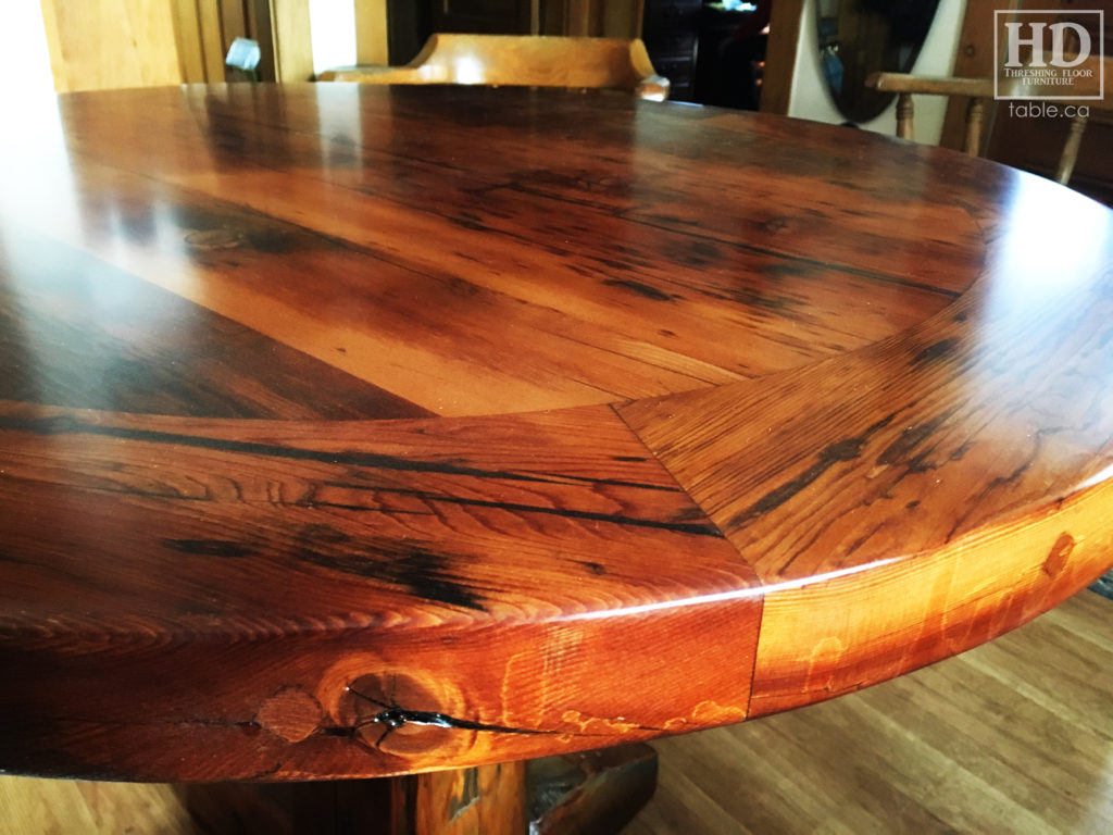 Cottage Round Table made from Ontario Barnwood by HD Threshing Floor Furniture / www.table.ca