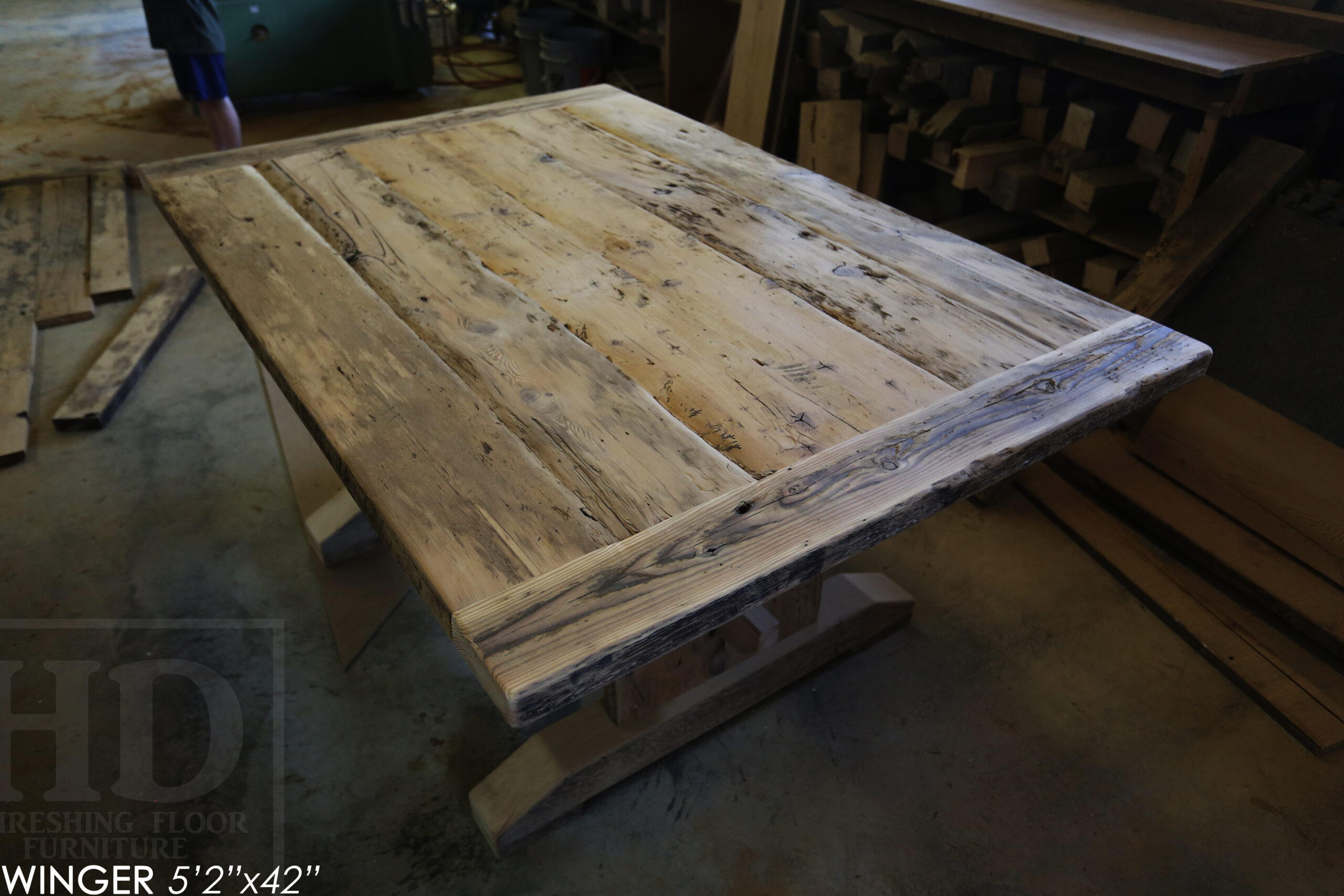 """5' 2"""" Reclaimed Wood Table we made for a Breslau, Ontario home - 42"""" wide - Trestle Base - Old Growth Hemlock Threshing Floor Construction - Original edges & distressing maintained - Premium epoxy + satin polyurethane finish - www.table.ca"""