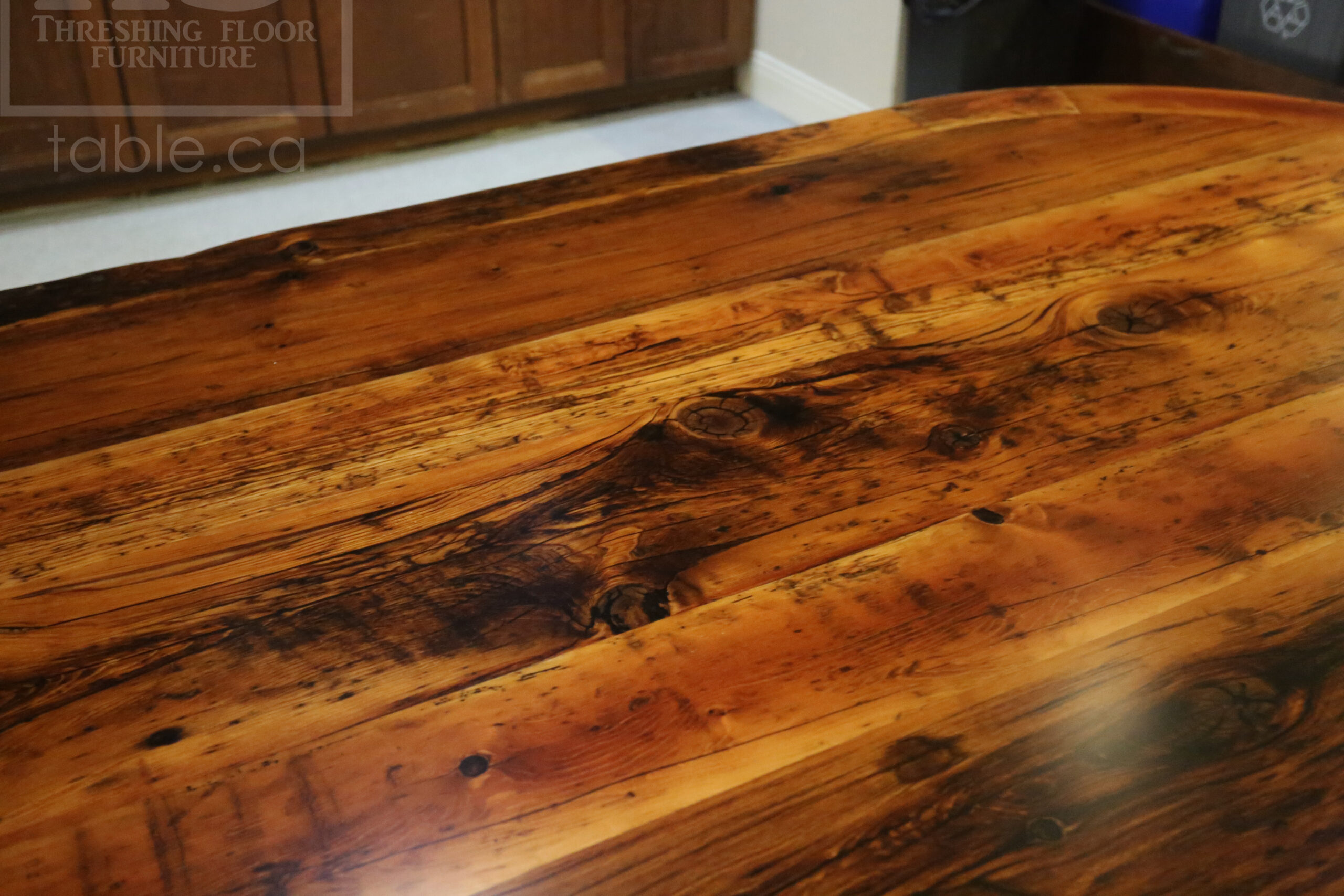 """9' Ontario barnwood Oval table we made for an Port Hope, Ontario community centre - 48"""" wide - Hand-Hewn Beam Pedestals Base - 2"""" Hemlock Threshing Floor Top - Original edges & distressing maintained - Premium epoxy + satin polyurethane finish - www.table.ca"""
