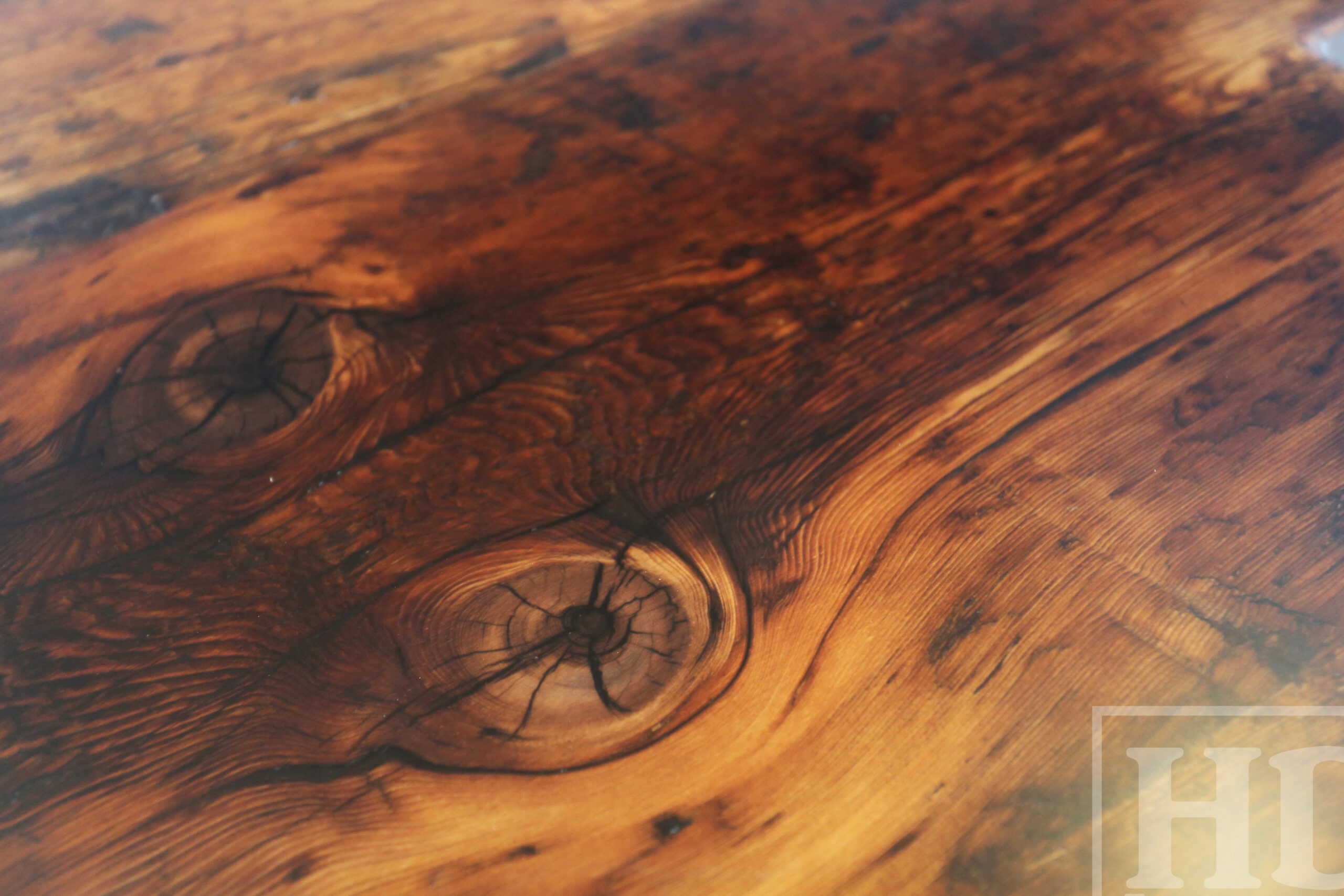 "Custom Reclaimed Wood Island Top - 2"" Hemlock Threshing Floor Construction - Original Ontario barnwood edges & distressing maintained - Premium epoxy + satin polyurethane finish - www.table.ca"