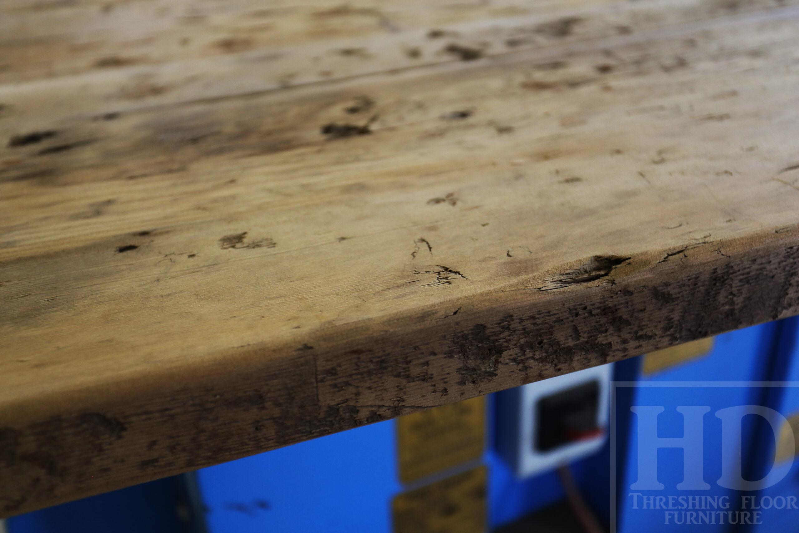 "Custom Reclaimed Wood Island Top we made for a Wasaga Beach, Ontario Home - 2"" Hemlock Threshing Floor Construction - Original Ontario barnwood edges & distressing maintained - Premium epoxy + satin polyurethane finish - www.table.ca"