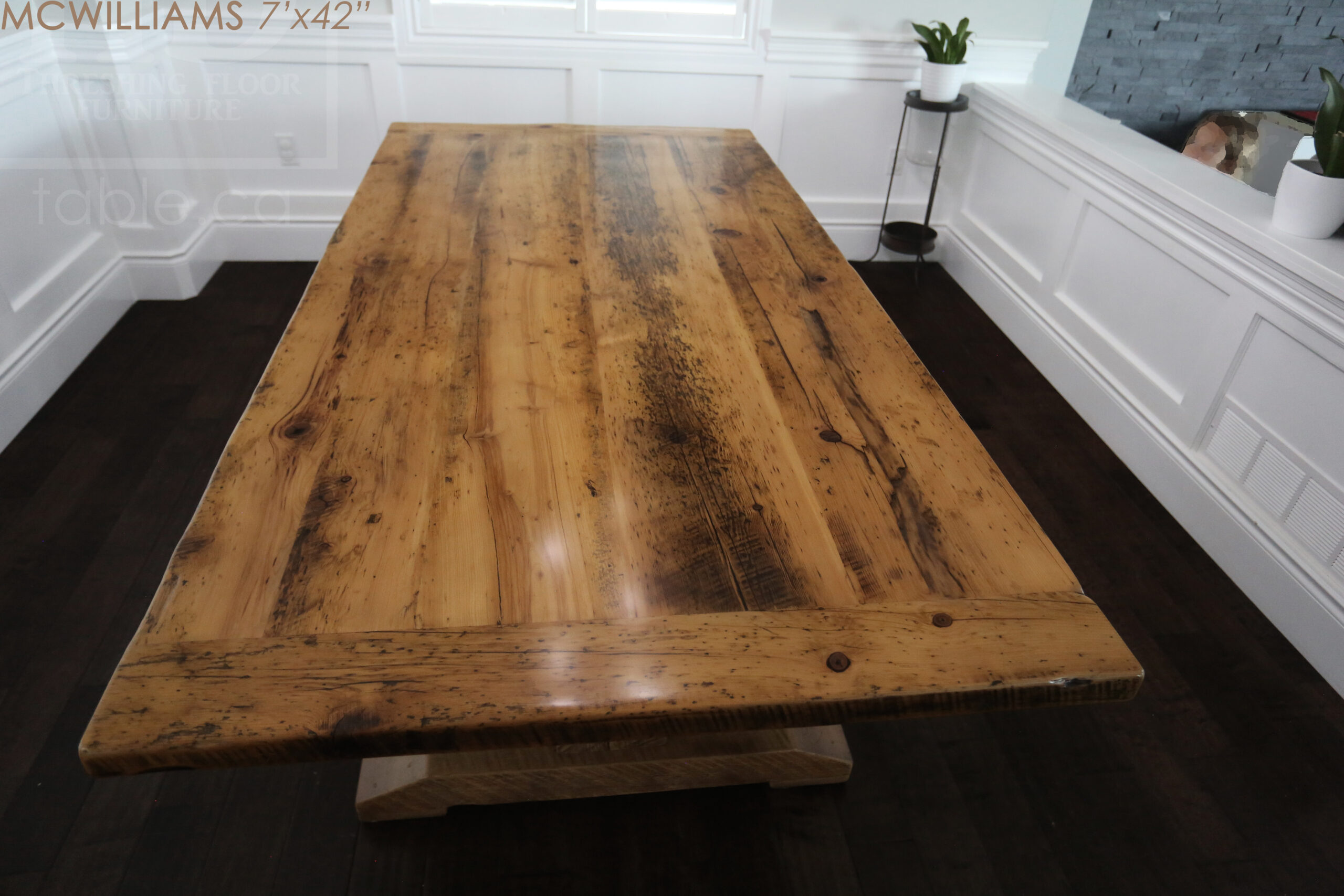"""7' Reclaimed Wood Pedestal Table we made for a Cambridge, Ontario home - 42"""" wide - Beam Posts + Rail Option - Old Growth Hemlock Threshing Floor Construction - Original edges & distressing maintained - Greytone Treatment Option - Premium epoxy + satin polyurethane finish - Two 18"""" leaves [making total length 10 ft when extended] - www.table.ca"""