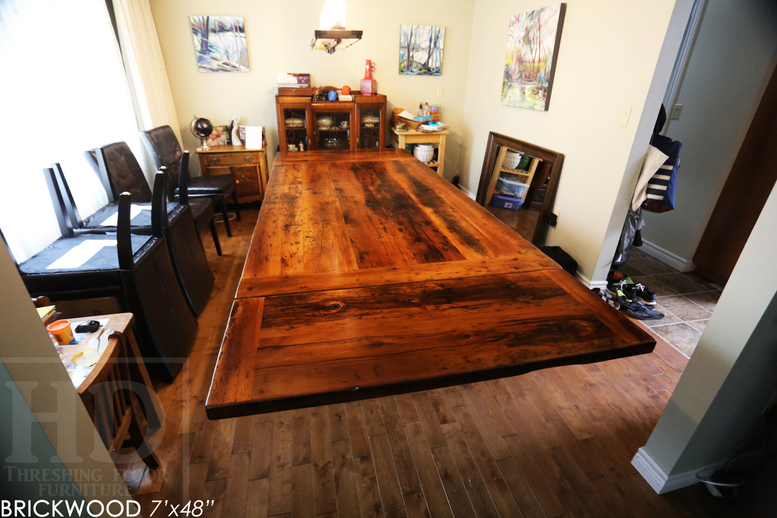 """7' Ontario barnwood trestle table we made for an Ingersoll, ON company - 48"""" wide - 2"""" Hemlock Threshing Floor Construction - Original edges & distressing maintained - Premium epoxy + satin polyurethane finish - Two 18"""" leaf extensions [making total length 10' when extended] - www.table.ca"""