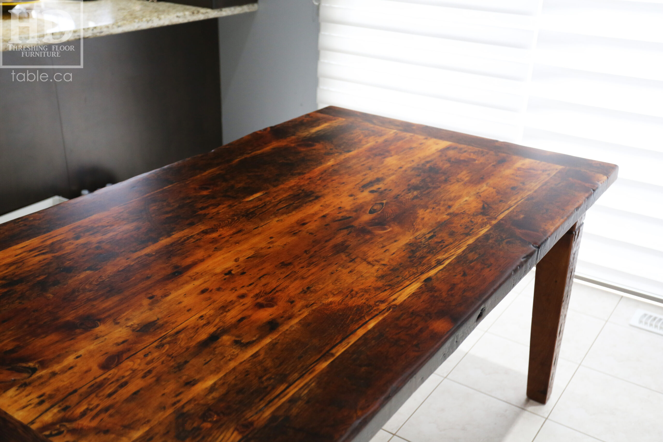 """Details: 66"""" Reclaimed Wood Table we made for a Maple, ON home - 37 1/2"""" wide - Harvest Base - Tapered with a Notch Windbrace Beam Legs - Old Growth Pine Threshing Floor Construction - Original edges & distressing maintained - Premium epoxy + satin polyurethane finish - One - 20"""" leaf - www.table.ca"""