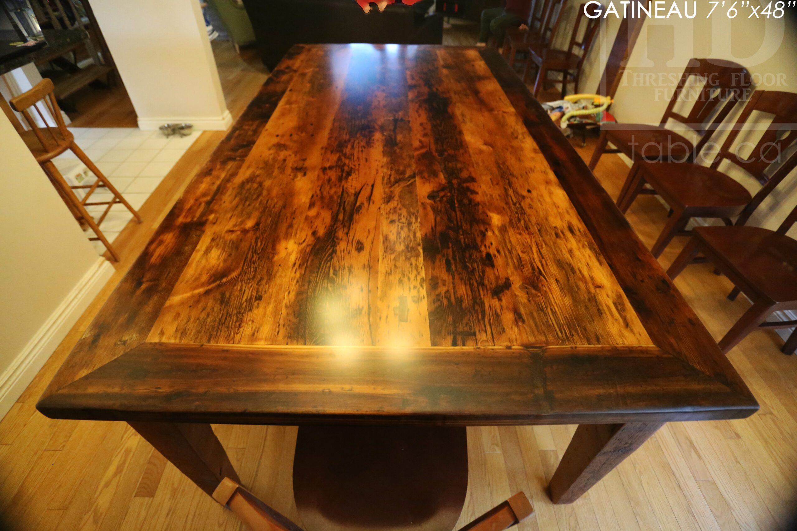 """7' 6"""" Reclaimed Wood Harvest Table we made for a Gatineau, Quebec home - 48"""" wide - Tapered with a Notch Windbrace Beam Legs - Hemlock Ontario Barnwood Threshing Floor 2"""" Top - Original edges & distressing maintained - Premium epoxy + matte polyurethane finish - www.table.ca"""