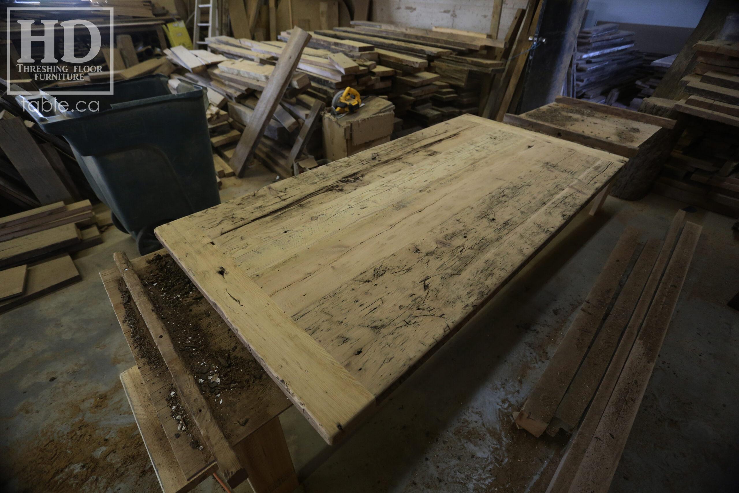 "Custom Reclaimed Wood Table Tops - Hemlock Barnwood Threshing Floor 2"" thick Construction - Original edges & distressing kept - Premium clearcoat epoxy + satin polyurethane finish - www.table.ca"