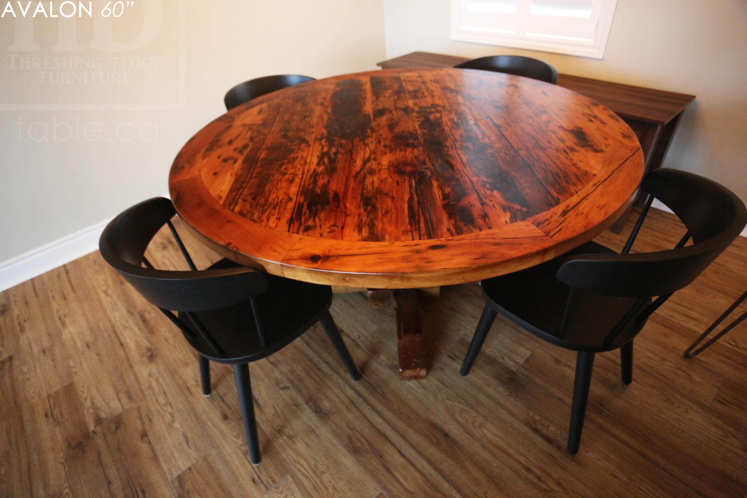 "60"" Round Reclaimed Wood Table - Hand-Hewn Beam Base - Hemlock Threshing Floor 2"" Top - Original edges & distressing maintained - Premium epoxy clearcoat [medium thickness] + satin polyurethane finish - www.table.ca"