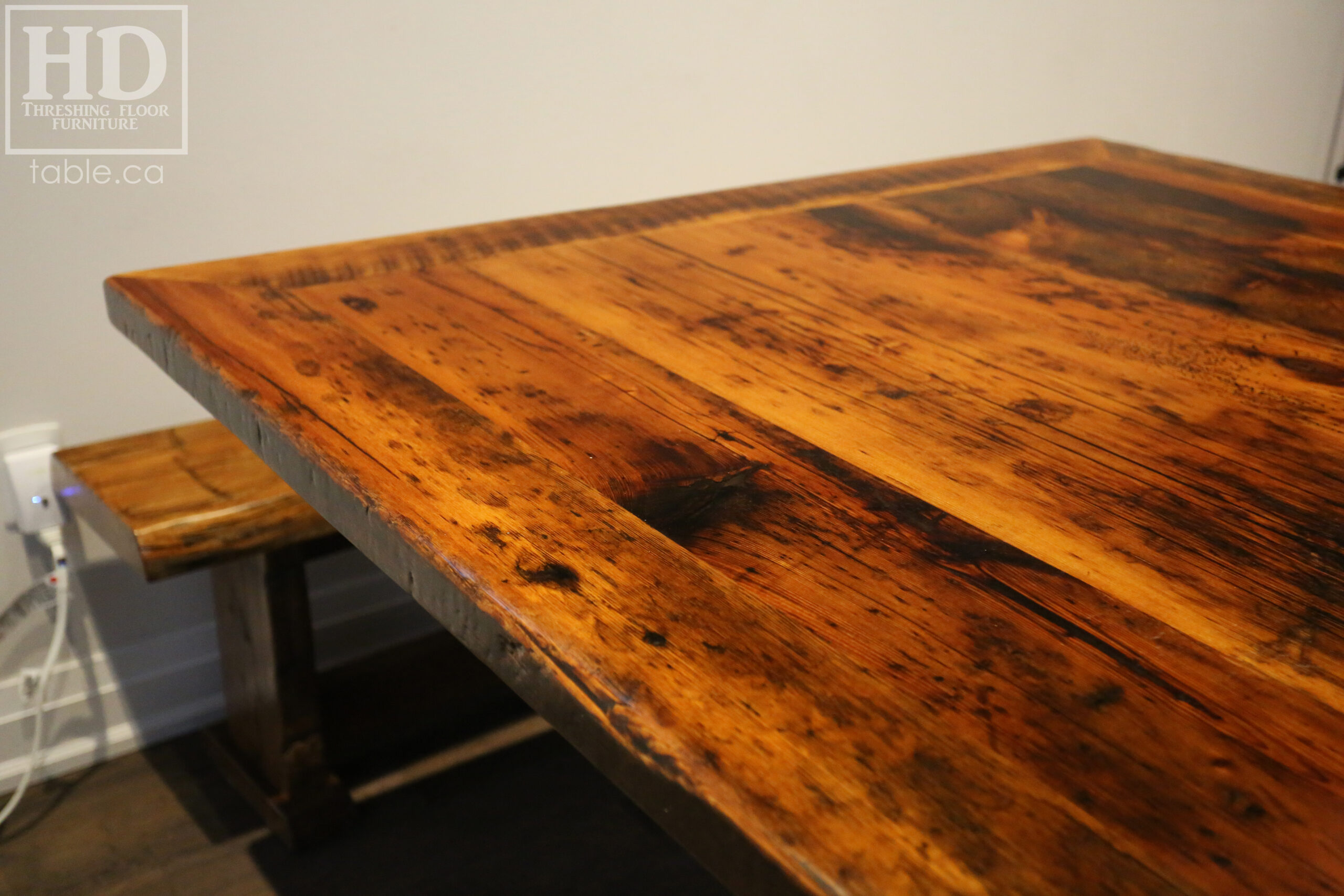 """54"""" x 54"""" Square Reclaimed Wood Table we made for a Toronto home - X Shaped Base - Hemlock Threshing Floor 2"""" Construction - Original edges & distressing maintained - Premium epoxy + satin polyurethane finish - www.table.ca"""