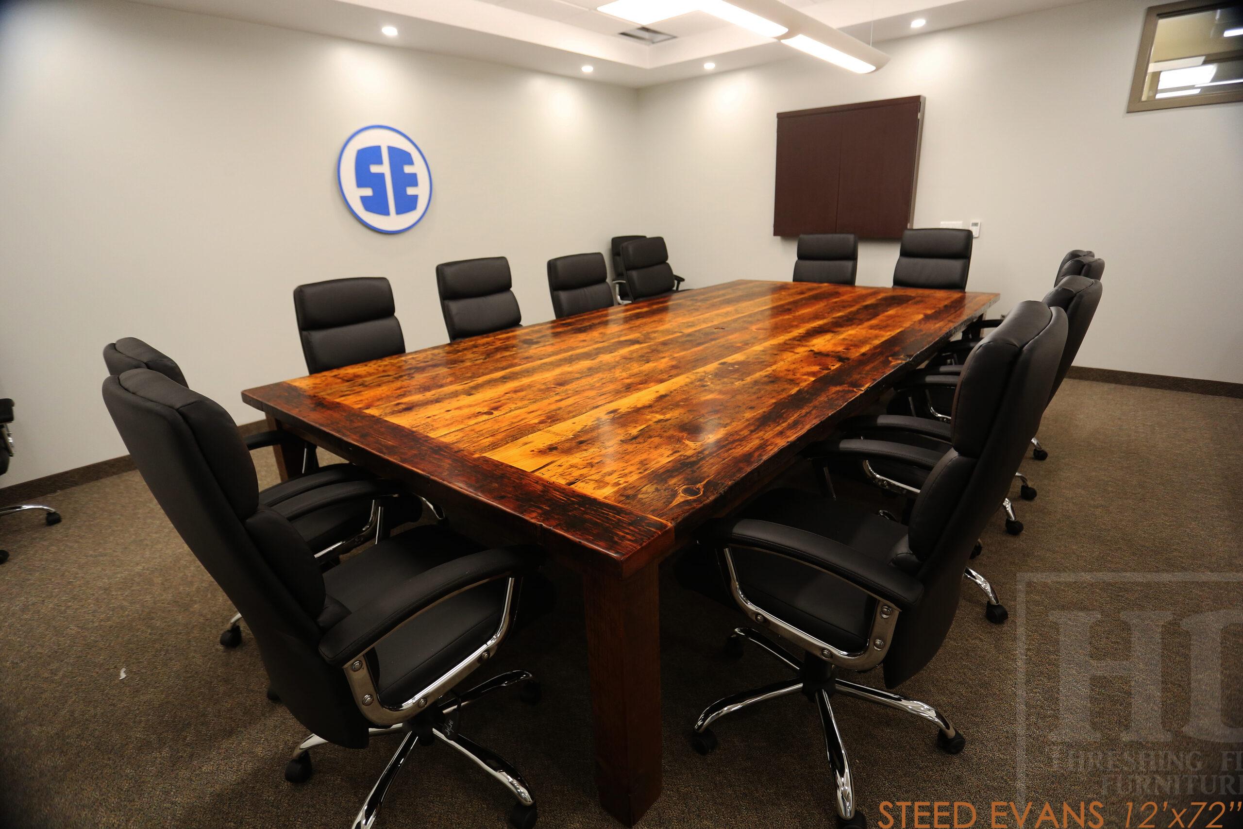 "12 ft Ontario Barnwood Boardroom Table we made for a St. Jacobs, Ontario company - 72"" wide - Straight 4""x4"" Windbrace Beam Legs - 2"" Hemlock Threshing Floor Top -  Original edges & distressing maintained - Premium epoxy + satin polyurethane finish - www.table.ca"