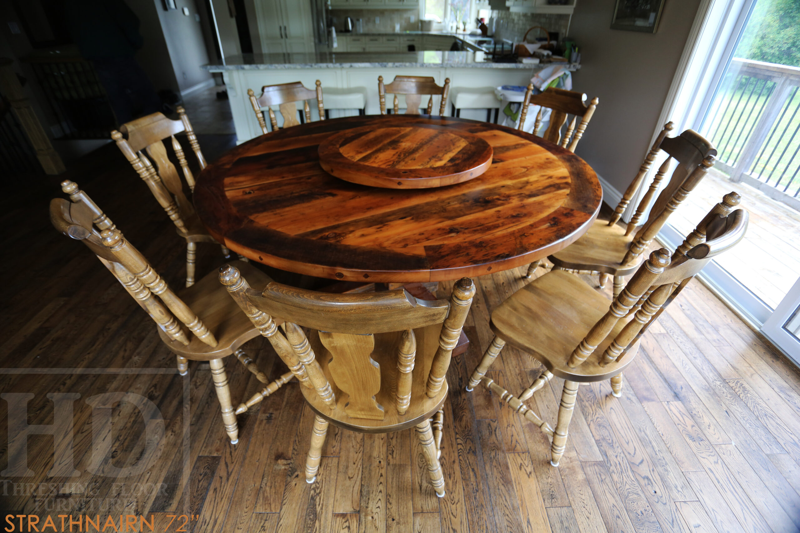 """72"""" Round Ontario Barnwood Table we made for a Meaford, Ontario home - Hand-Hewn Beam Post Base - 2"""" Hemlock Threshing Floor Top - Original edges & distressing maintained - Premium epoxy + matte polyurethane finish - [Matching] 32"""" Round Lazy Susan - www.table.ca"""