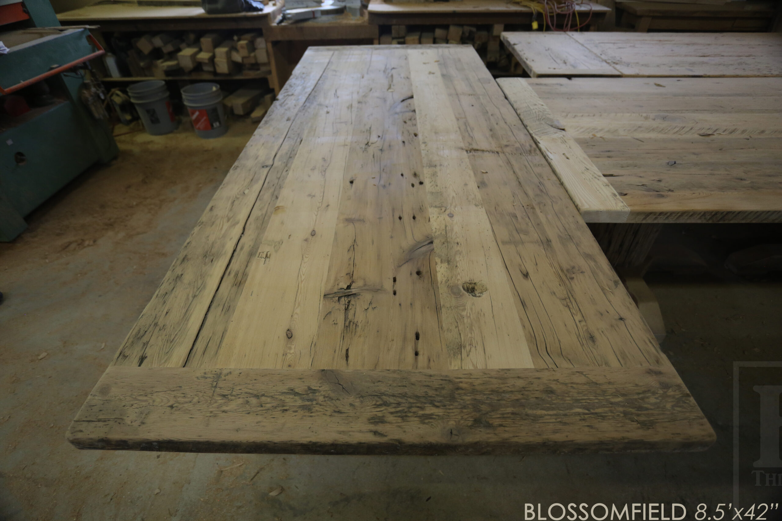 """Project details: 8.5' Reclaimed Wood Table we made for a Cambridge, Ontario home - 42"""" wide - Frame Base - Old Growth Hemlock Threshing Floor Construction - Original edges & distressing maintained - Premium epoxy + matte polyurethane finish - www.table.ca"""