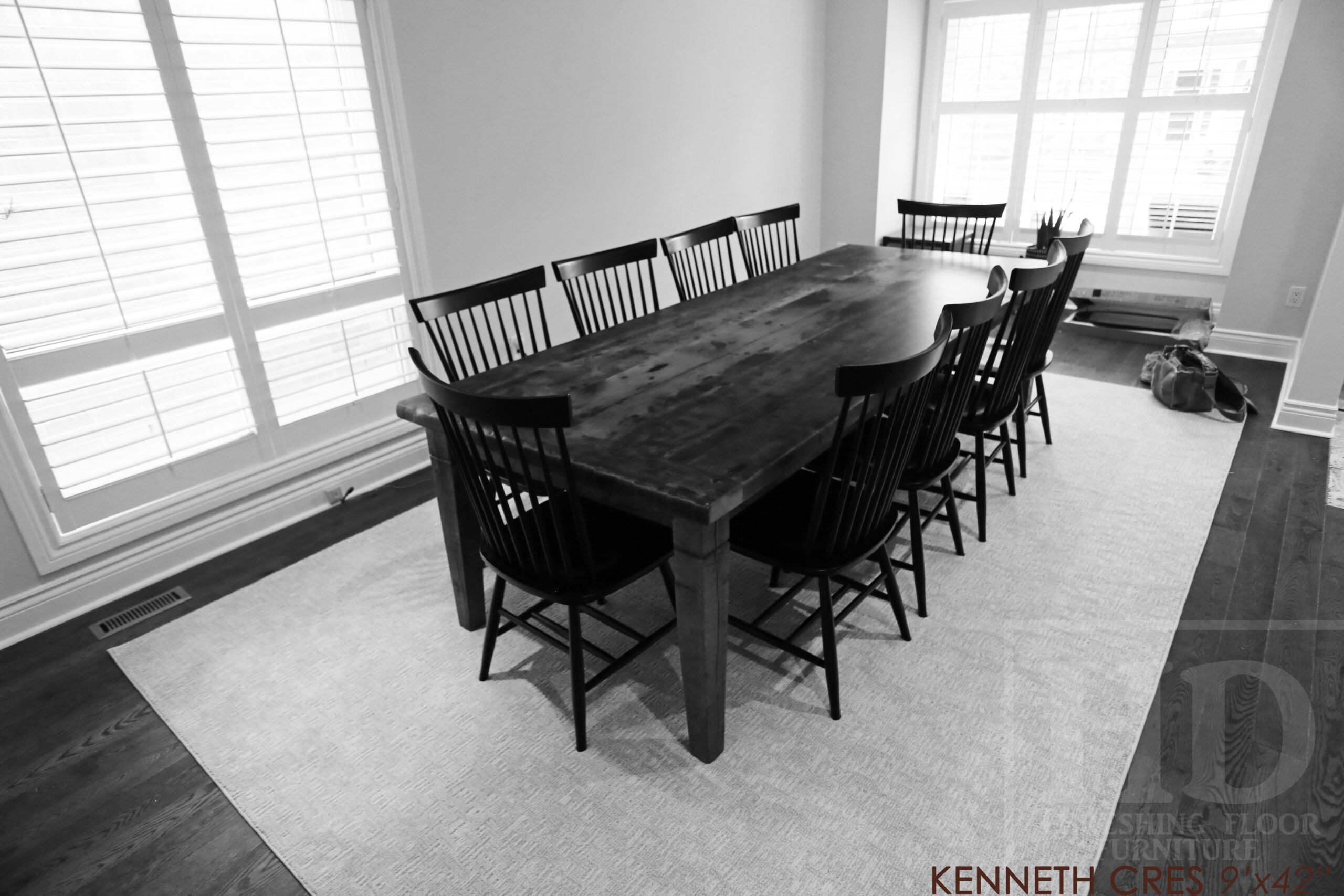 """9' Ontario Barnwood Harvest Base Table we made for a Burlington, Ontario home - 42"""" wide - Tapered with a Notch Windbrace Beam Legs - 2"""" Hemlock Threshing Floor Top -  Original edges & distressing maintained - Premium epoxy + matte polyurethane finish - 10 Shaker Chairs / Solid Wormy Maple / Painted Solid Black / Polyurethane clearcoat finish - www.table.ca"""