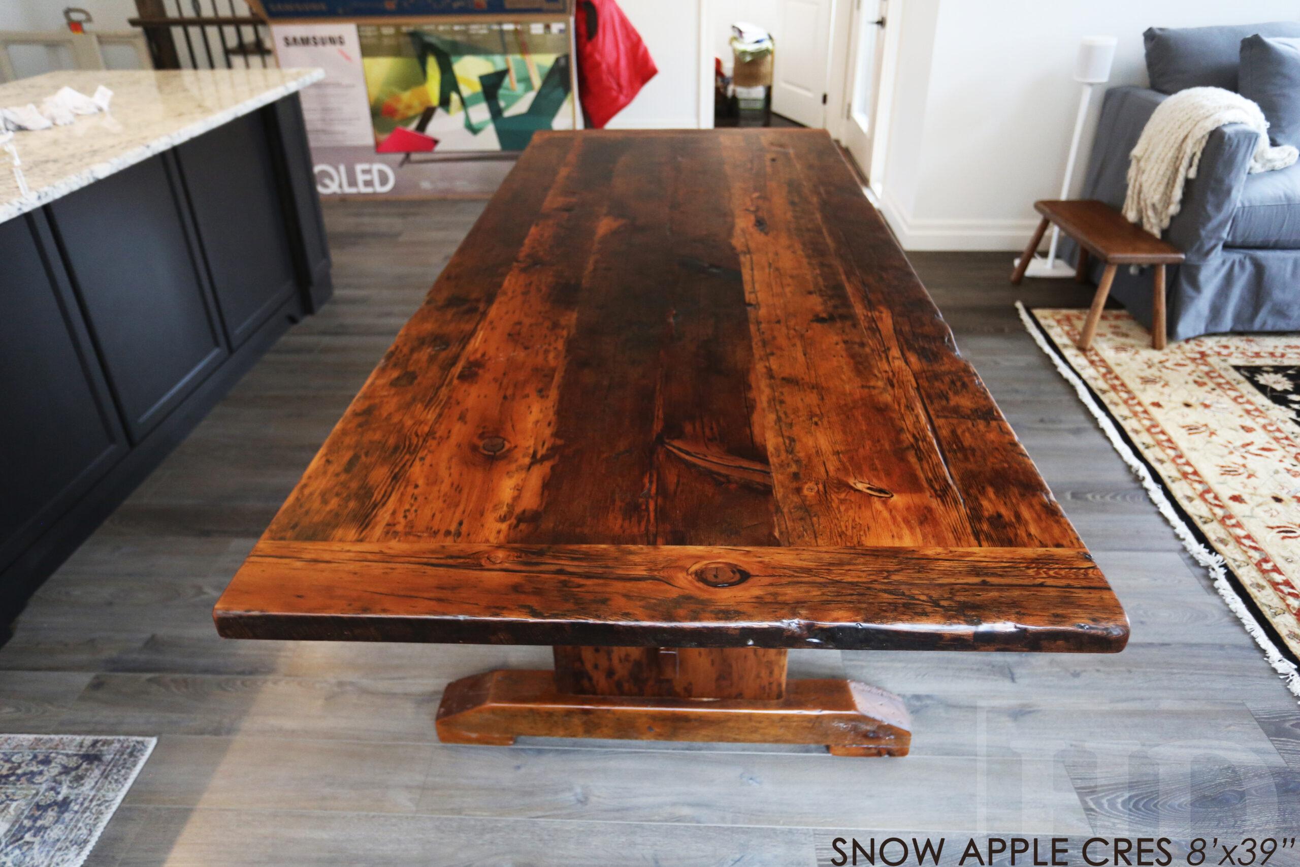 "8' Ontario Barnwood table we made for a Blue Mountain, Ontario Home - 39"" wide - Trestle Base - 2"" Hemlock Threshing Floor Construction - Original barnwood edges & distressing maintained - Premium epoxy + matte polyurethane finish - www.table.ca"