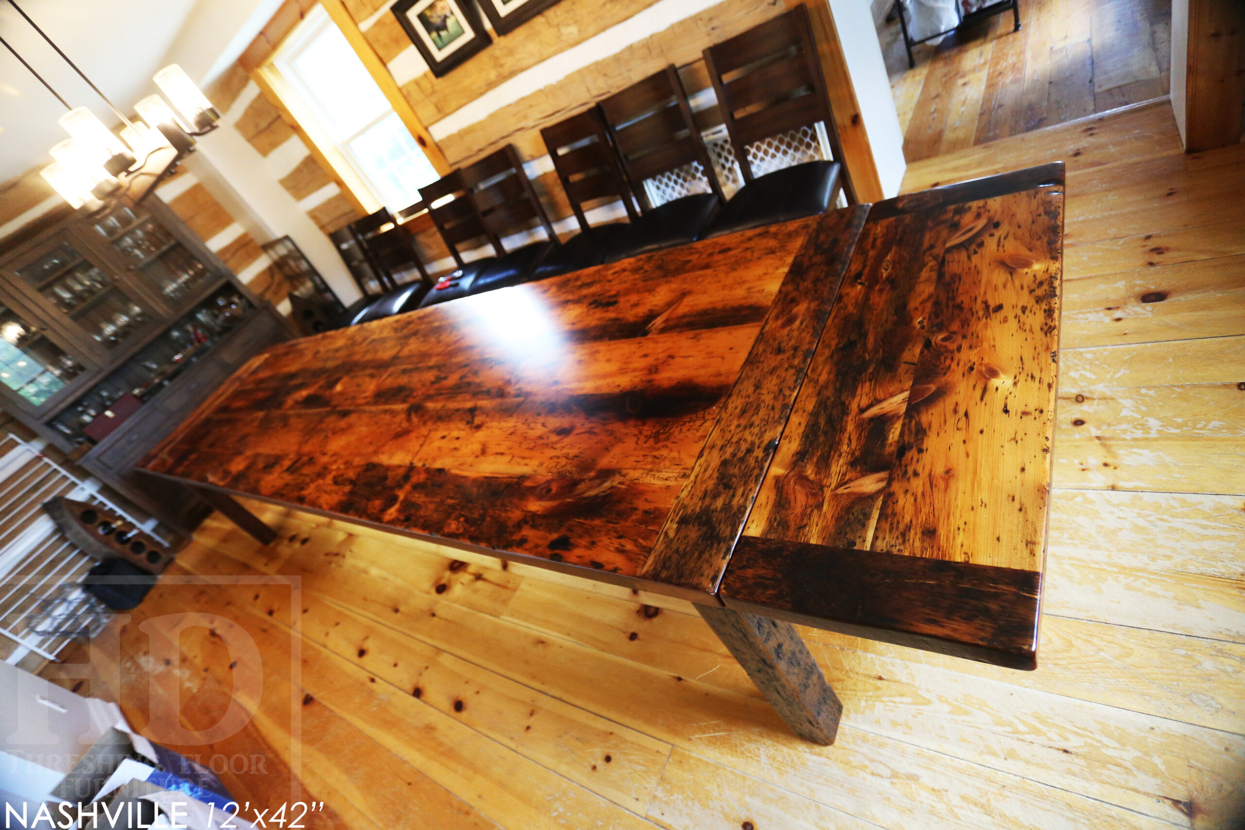 """12' Ontario Barnwood Harvest Table we made for a Bolton, Ontario home - 42"""" wide - Original edges & distressing maintained - Old growth Pine Threshing Floor 2"""" Top - Straight 4""""x4"""" Windbrace Beam Legs - Two 15"""" Leaf Extensions [making total length 174"""" when extended] - Premium epoxy + satin polyurethane finish - www.table.ca"""