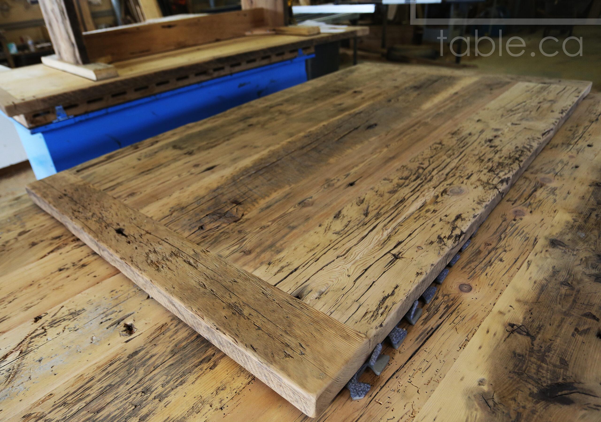 "6' Ontario Barnwood Steel Base Table we made for a Brantford home - 42"" wide - 2"" Hemlock Threshing Floor Top -  Original edges & distressing maintained - U Shaped Matte Black Metal Base - Premium epoxy + satin polyurethane finish - www.table.ca"