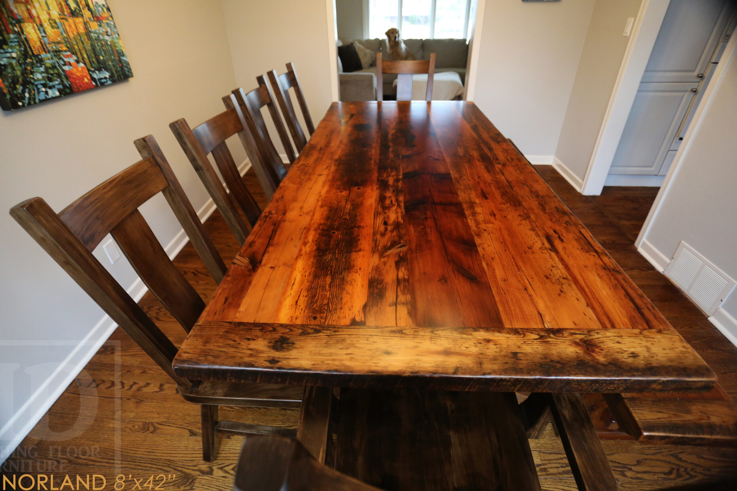 """8' Ontario Barnwood Table we made for a Burlington, Ontario home - 42"""" wide - Sawbuck base - Original edges & distressing maintained - Old growth Hemlock Threshing Floor 2"""" Top - Premium epoxy + satin polyurethane finish - 8' [matching] bench - 6 Plank Back Chairs / Wormy Maple  www.table.ca"""