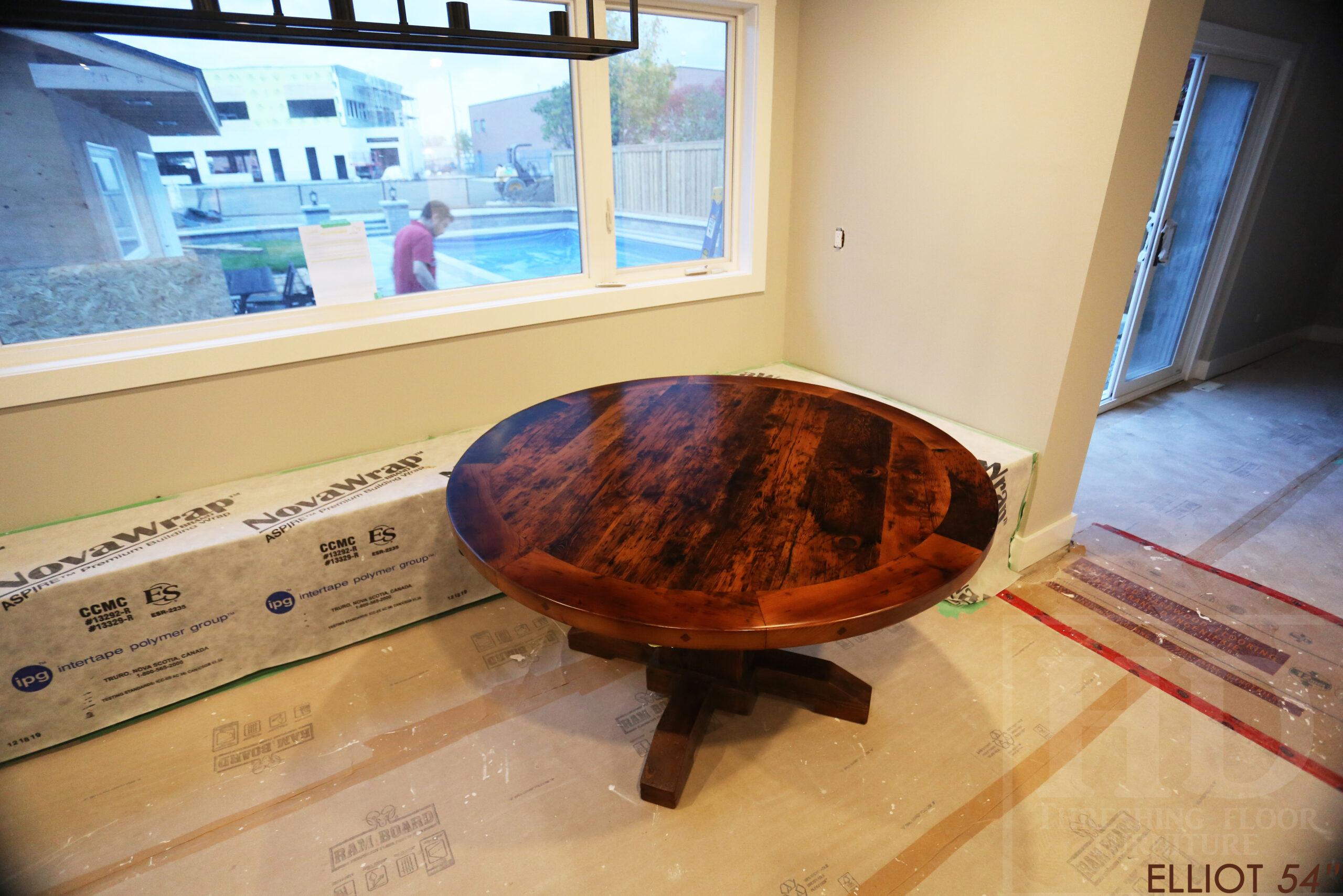 "54"" Ontario Barnwood Round Table we made for a Milton home - 2"" Hemlock Threshing Floor Top - Hand Hewn Beam Pedestal Base - Original edges & distressing maintained - Premium epoxy + matte polyurethane finish - www.table.ca"
