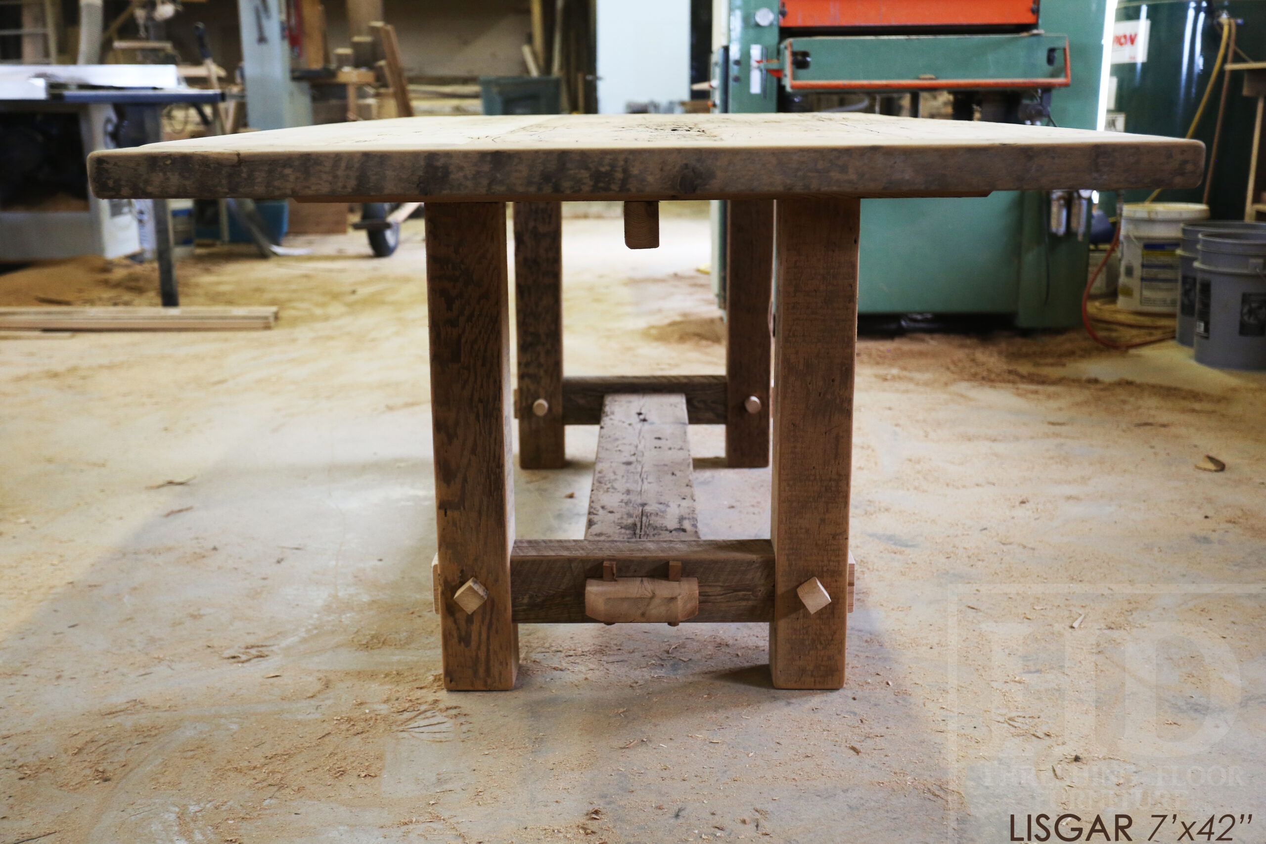 "7' Ontario Barnwood table we made for a  Hamilton, Ontario Home - 42"" wide -  2"" Hemlock Threshing Floor Construction - Original Ontario barnwood edges & distressing maintained - Premium epoxy + satin polyurethane finish - www.table.ca"