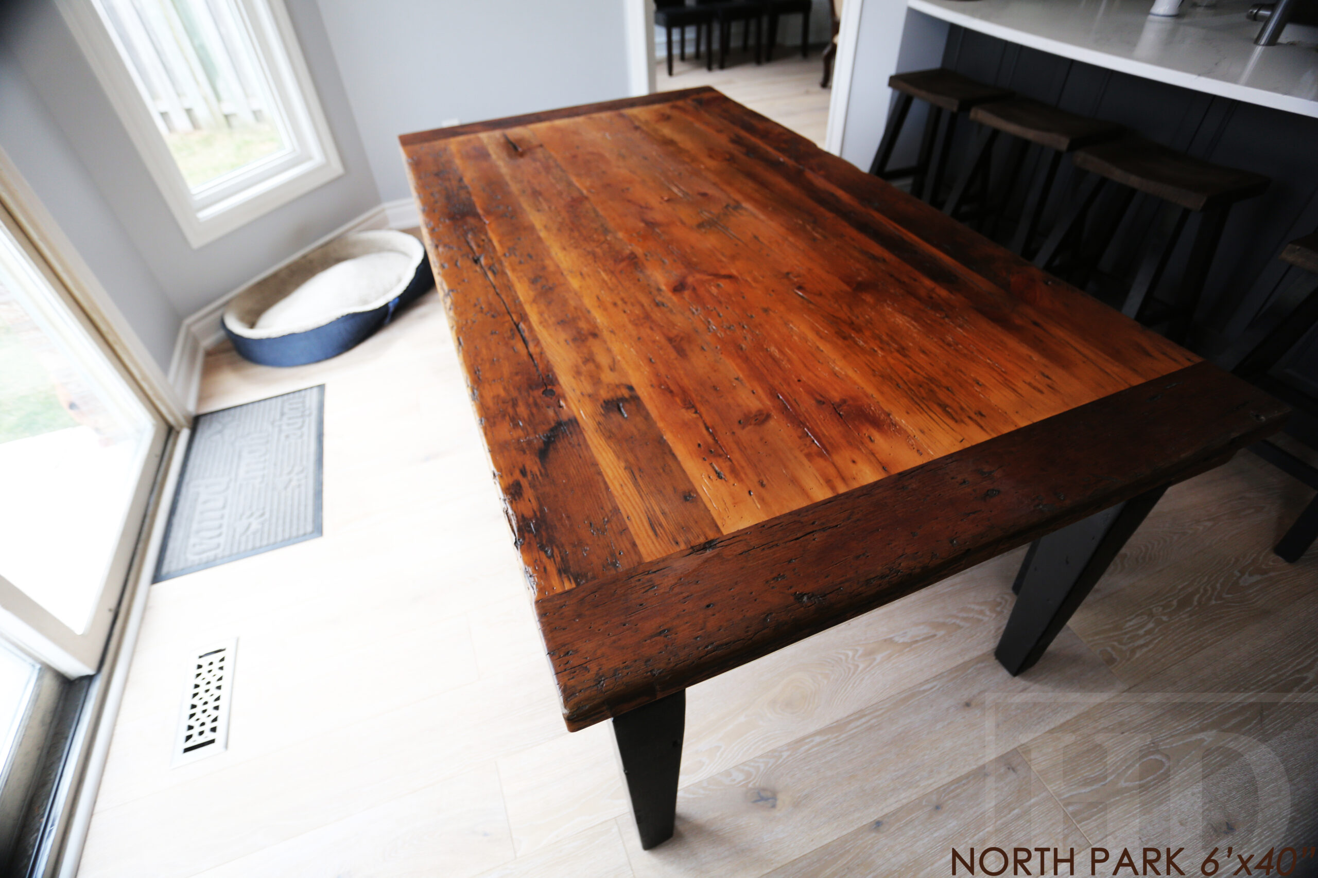 """6' Reclaimed Wood Harvest Table for a Mississauga, Ontario Home - 40"""" wide - Reclaimed Hemlock Threshing Floor Construction- Tapered with a Notch Windbrace Beam Legs - Original Distressing/Character/Edges Maintained - Matte polyurethane finish [no epoxy] - Two 12"""" Leaves - 5' [matching] Bench - www.table.ca"""