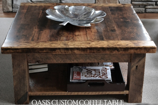 Rustic coffee tables reclaimed wood coffee tables for Barn board coffee table