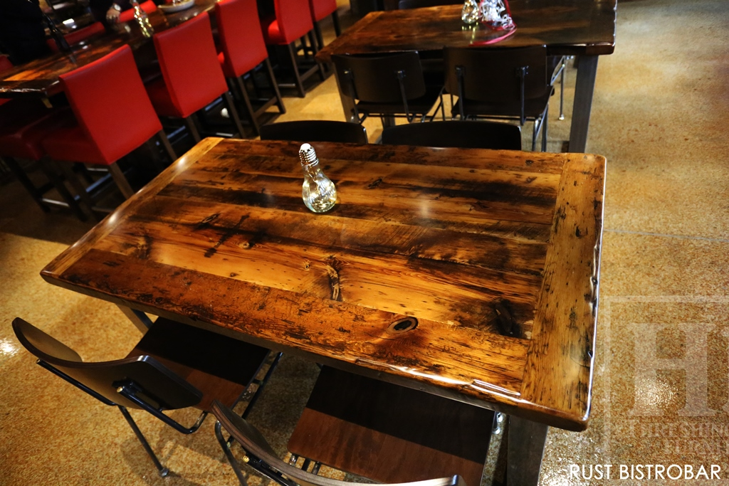Custom Hand Made Reclaimed Wood Restaurant Tables With Resin Finish