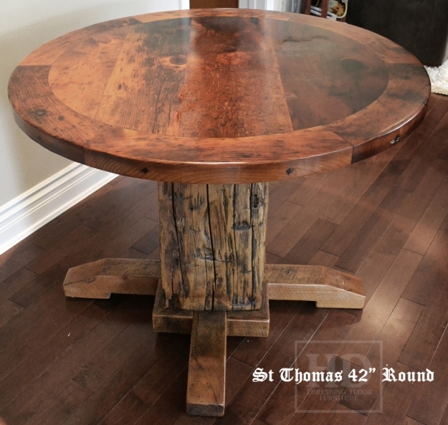 round reclaimed wood dining table rustic round wood tables. Black Bedroom Furniture Sets. Home Design Ideas