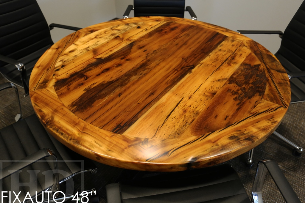 Round Reclaimed Wood Dining Table | Rustic Round Wood Tables
