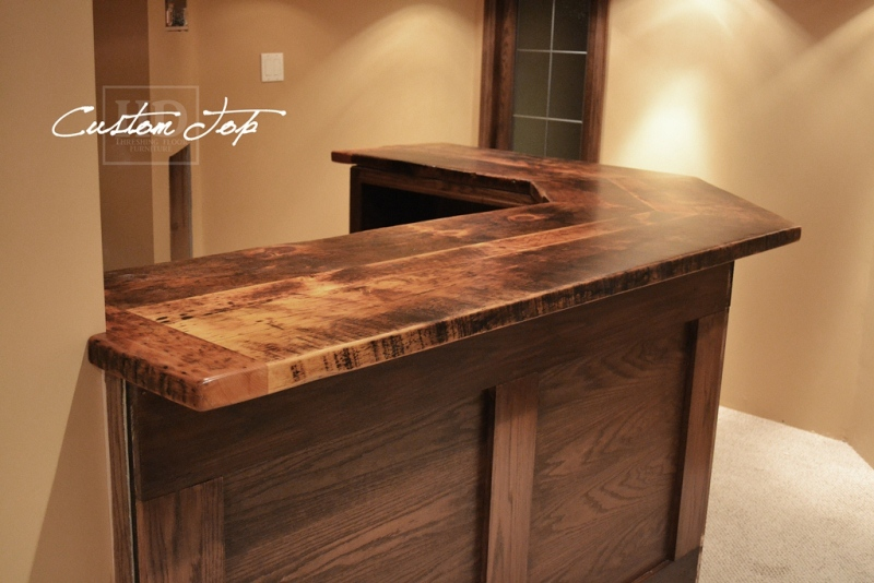 Reclaimed wood bar kitchen island tops hd threshing for What to use for a bar top