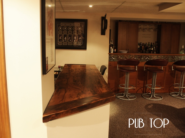 ... Bar Top In Condo · 2 Inch Thick Reclaimed Wood Half Wall Cap With Epoxy/ Polyurethane Finish ...
