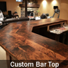 Custom Reclaimed Pine bar top finished with epoxy finish